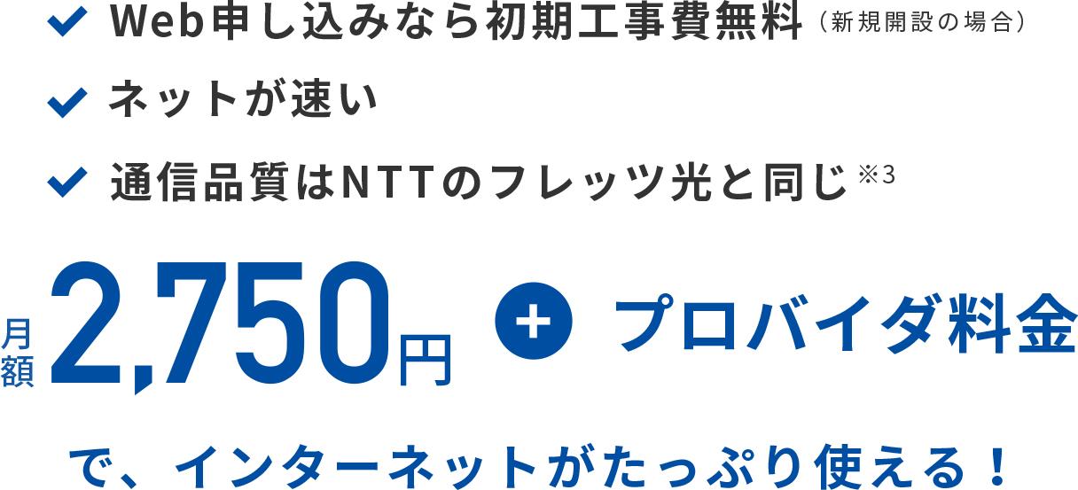 月額2,750円+プロバイダ料金で、インターネットがたっぷり使える!